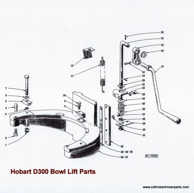 Hobart D300 Bowl Lift Parts