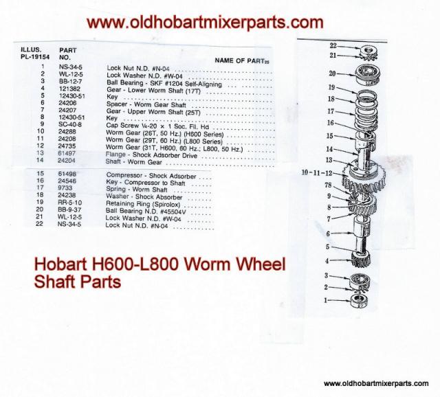 Hobart H600 L800 Worm Wheel Shaft Parts